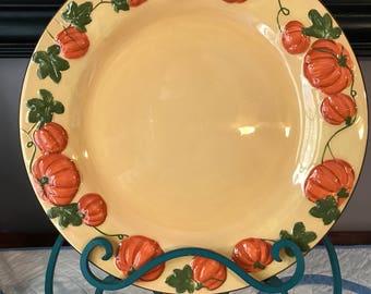Vintage pumpkin plate, fall, thanksgiving decor