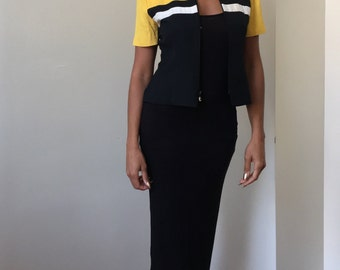 90s Positive Attitude Petite Black White and Yellow Short Sleeve Zip Up Blouse