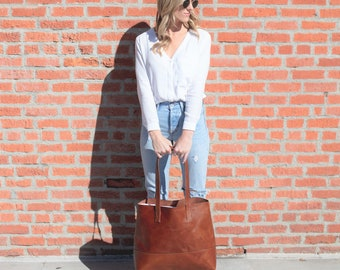 Hand Stitched Brown Full Grain Leather Tote