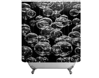 Black & White Bath Decor-Bubbles Shower Curtain-Soap Bubbles Curtain-Minimalist Bath-Elegant Decor-Master Bath Decor-Fabric Shower Curtain