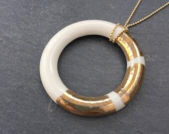 Gold & Porcelain Large Ring Necklace