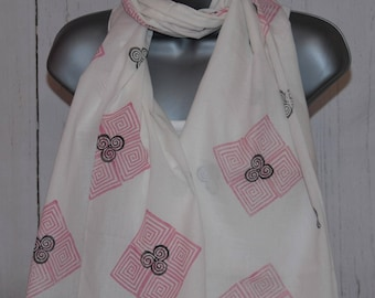 Hand Printed Geometric Patterned White Scarf -  A Wonderful Gift!