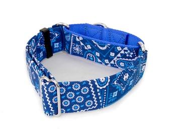 "Dog Collar Blue Bandanna Martingale, Buckle 3/4""- 2"" Width Collars"