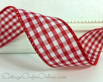 """Wired Ribbon 1 1/2"""" Red White Check Gingham - THREE YARDS - Offray Christmas, Valentine, Summer, Picnic Check, Craft Decor Wire Edge Ribbon"""