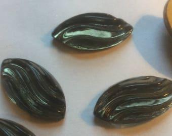 Vintage Glass Cabochons (1)(30x15) Black Diamond Carved Navettes