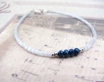 Pale Blue Bracelet, Seed Bead Bracelet, Beaded Bracelet, Minimalist Minimal, Friendship Bracelet, Tiny Silver Plated Jewelry Dainty Modern