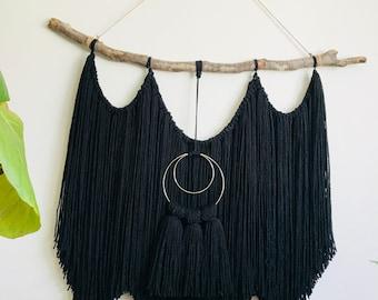 Black Yarn Wall Hanging