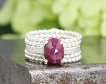 Beaded Band Ring Stack with Oval Rose Cut Ruby Gemstone in Prong Setting - Five Separate Sterling Silver Rings - Size 5 - READY TO SHIP