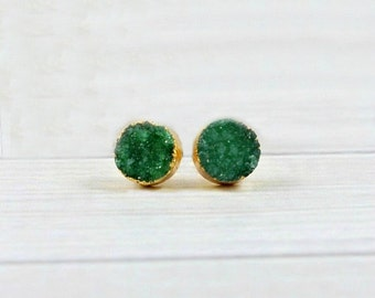 Druzy Earrings, Druzy Stud Earrings, Druzy Studs, Crystal Earrings, Raw Stone Jewelry, Gemstone Earrings, Green, Black, Blue, Pink, Sparkly