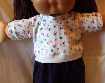 Baby doll top and pants set, fits 16in to 18in baby dolls, Cabbage Patch dolls