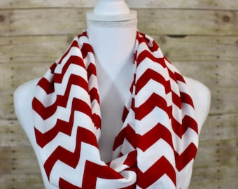 Red and White Chevron Infinity Scarf, Christmas Scarf, Holiday Gift, Fall Fashion, Gift for Her, Hostess Gift, Women's Gift