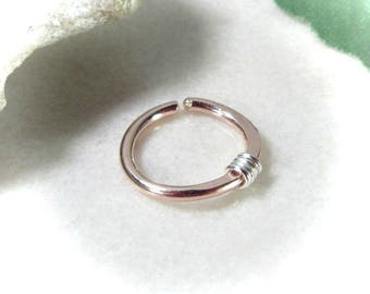 Nose Rings Solid 14k Pink Gold with Silver Wrap - Nose Ring, Septum Ring, Pink Gold Nose Ring, Rose Gold Nose Ring, Hammered Nose Ring