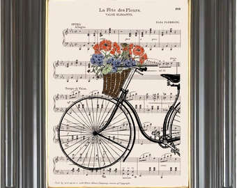 Paris Bicycle Basket of flowers wall decor digital print on dictionary or music page Dictionary art Sheet music No. 2045