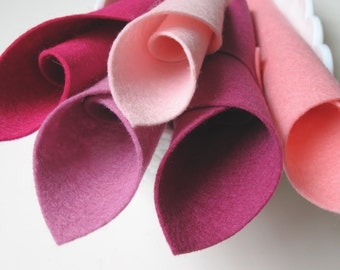 Wool Felt, The Pinks Color Story, Five Piece Set, 8 x 12 Inch Sheets, DIY Felt Flowers, Mulberry, Light Pink, Rose, Carnation, Magenta