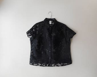 90's See Through Floral Short Sleeve Button Up Collared Shirt Vtg Aus 16