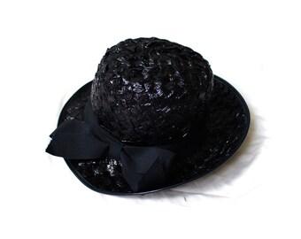 vintage hat 50's black raffia straw vagabond ribbon bow 1950s accessories