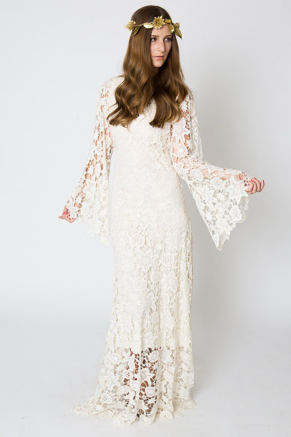 Vintage Inspired Bohemian Wedding Gown BELL SLEEVE LACE Crochet Ivory Or White Hippie Dress Boho Embroidered Maxi Lace