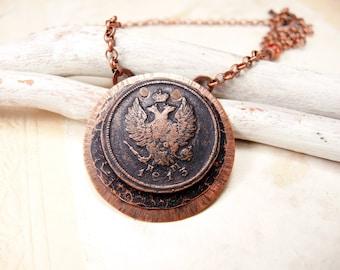 Collier de pièce de monnaie en cuivre avec pièce de monnaie antique 1813