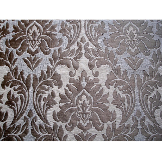 Ivory Gold Chenille Damask Curtain Fabric Upholstery Fabric