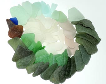 68 pcs Mix size genuine SEA GLASS Very good quality, near perfect, thin / R52