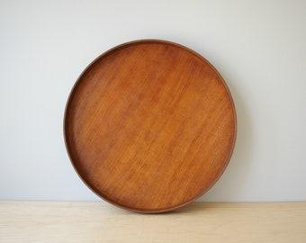 Vintage Round Teak Tray, Teak Serving Tray, Danish Style Teak Tray, Teak Barware Tray, MCM Tray