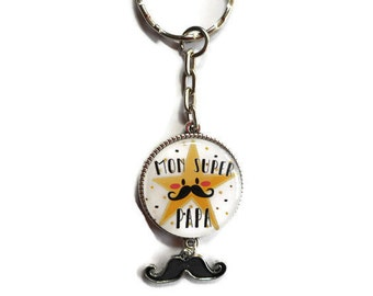 """Door keys/dad / """"my super Dad"""" / gift / birthday/father's day/thank you"""