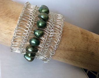 Knitted Bracelet silver and green pearls