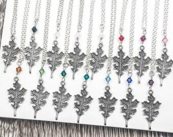 Oak Leaf Necklace, Ranger's Apprentice Inspire Woodland Nature Silver Oak Leaf Necklace, Swarovski Crystal Birthstone, Gift For Her For Him