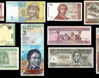 10 Worldwide Banknotes  - Set 3  - Altered Art, Home Decor, Collections. Travel Scrapbooks