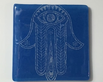 Hamsa Fused Glass Single Coaster, Judaica Coaster, Glassware, Drink Coaster