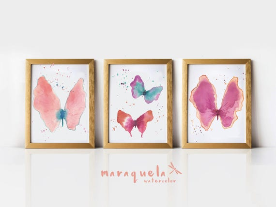 "UNIQUE and ORIGINAL Set of Butterflies  8"" x 10""- Hand Painted, art, decoration, handmade, watercolor, butterfly - ONLY Originals hand made"