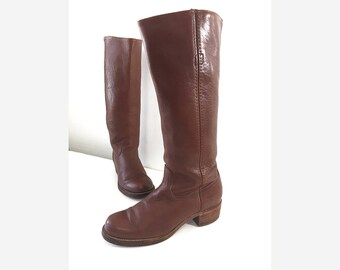 Vintage Frye Boots,  80s Tall Frye Boots — Campus Boots in Cinnamon Brown Mens 9 B Womens 10.5 — Soft Leather Boots Stacked Heel & Round Toe