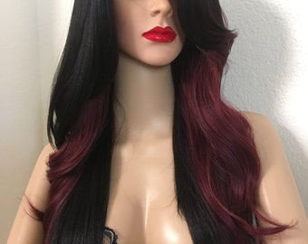 Ombré burgundy and black wig 24 inch long wavy layered straight hair on the back