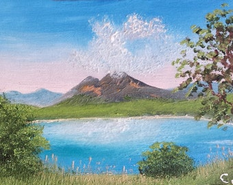 "Original ACEO landscape oil painting MOUNTAIN LAKE  2.5 x 3.5"""