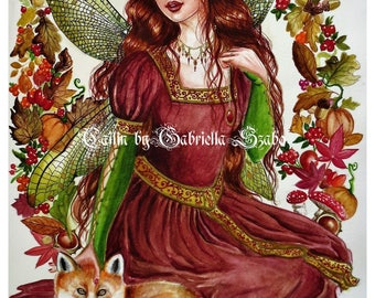 Cailin Irish fairy with a fox watercolour painting