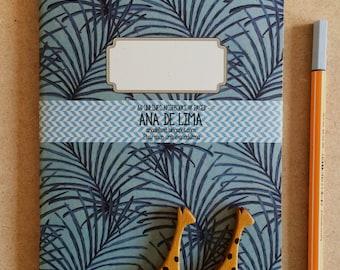 notebook journal - A5 -original cute pattern - palm leaves