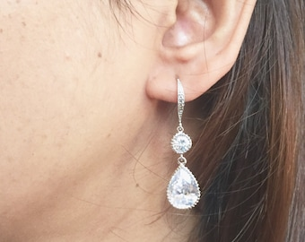 Bridal Earrings,Zirconia Bridal earrings,Cubic Zirconia Crystal Tear Droo Bridal rhinestone dangle earrings,crystal tear drop earrings