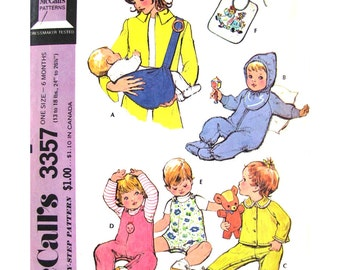 Baby Sling, Overalls, Jacket Pattern McCalls 3357 Snowsuit Jumpsuit Romper Bib Infant Layette Size 6 mths Sewing Pattern