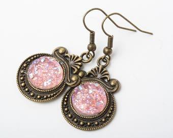 Druzy earrings, druzy style earrings, faux druzy earrings, Druzy dangles, sparkly earrings, druzy earrings, Pink druzy, blue dangles
