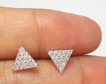Triangle Earrings,Diamond Triangle Studs, Triangle Diamond Pave Earrings,Minimalist Earrings,Simple Earrings,Geometric Jewelry, Gift for her