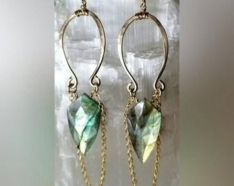 Labradorite Arrow Earrings