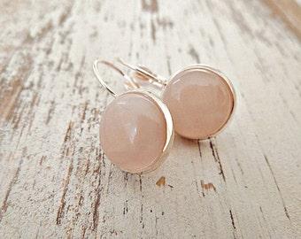 Rose Quartz Earrings Rosegold
