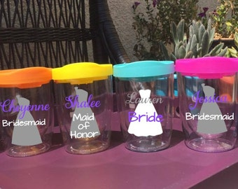 Wedding Dress Tumbler Stemless Wine Tumbler Wine Cup Girls Weekend Bridesmaid Gift Bridal Party Bridal Gift Personalized Bachelorette Favor