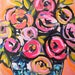 Roses Abstract Original Painting on Canvas, abstract roses, pink roses, FLOWER POP