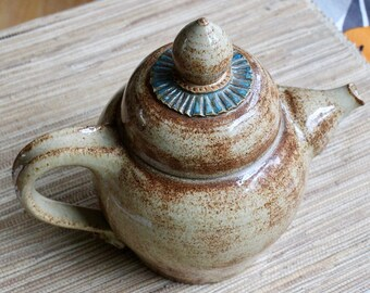 Teapot for Two - Speckled Tan Glaze with a Band of Blue - Wheel Thrown - Functional Art Pottery - Warm Speckled Ceramics - One of A Kind