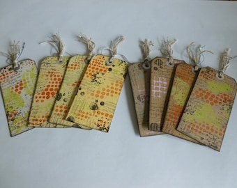 mixed media art tags, journal tags, planner tags, gift tags, recycled x 8