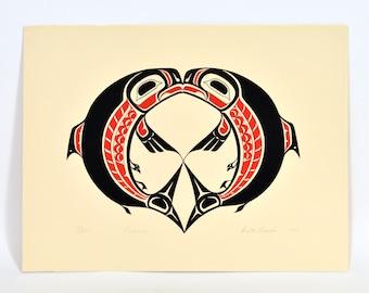Pisces Salmon Print Chief Walter Harris Vintage 1983 Serigraph