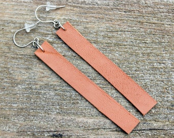 Titanium Leather Earrings, Cognac Brown Leather with Hypoallergenic Titanium Ear Wires, 2 sizes