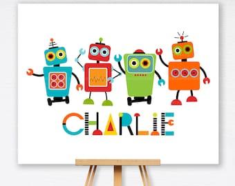 Robot Wall Art, Printable Personalized Art, Decor, Custom Digital Printable Art - 1120