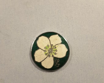 Vintage Champleve enamel button, marked 1975